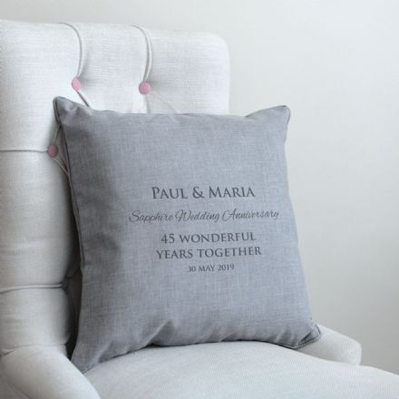 Personalised Sapphire Wedding Anniversary Cushion